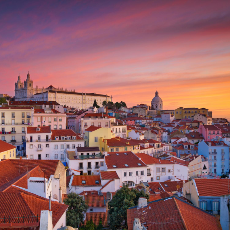 Amazing sunset in Lisbon